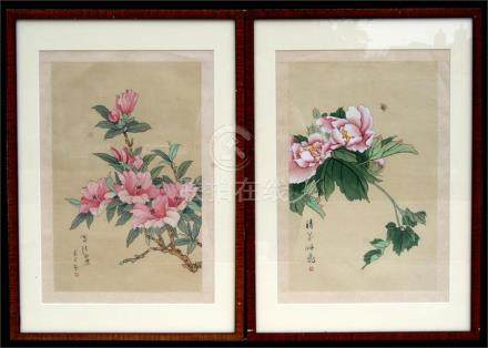 A pair of Chinese watercolour paintings on silk depicting flowers & insects, with calligraphy &