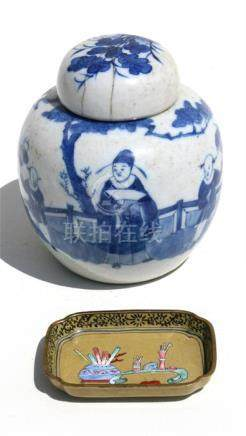 A 19th century Chinese blue & white ginger jar decorated with figures, four-character mark to