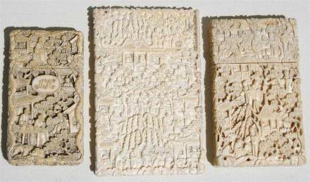 A group of three 19th century Chinese Canton Export carved ivory visiting card cases decorated