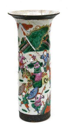 A large late 19th / early 20th century Chinese sleeve vase decorated with warriors, with incised
