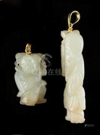 Property of a lady - a Chinese carved white jade figure of Shoulao, mounted as a pendant in 14ct