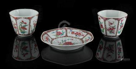 Property of a deceased estate - a pair of Chinese famille rose hexagonal cups or beakers, 18th