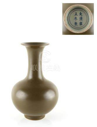 Property of a gentleman - a Chinese olive-green glazed baluster vase, with apocryphal underglaze