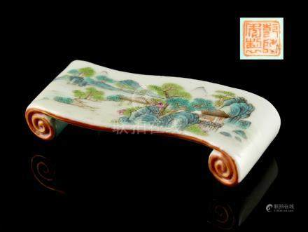 A Chinese famille rose scroll stand, painted with pavilions in mountainous landscape, the