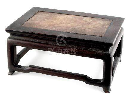 A Chinese hongmu rectangular stand, circa 1900, with inset pink veined marble top, 8.25ins. (21cms.)