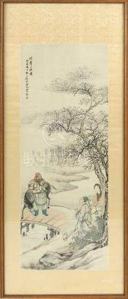 An early 20th century Chinese painting on paper depicting a river landscape with three figures & two