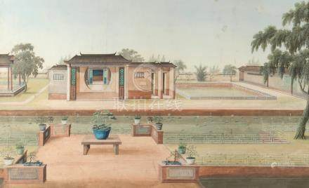 A mid 19th century Chinese painting on paper depicting terraces in formal gardens, 11.25 by 18.3ins.
