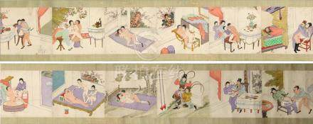 A complete set of twelve Chinese erotic paintings on paper, early 20th century, mounted as a hand