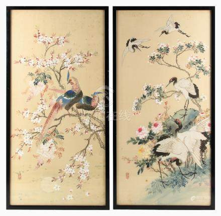 A pair of Chinese Republic period paintings on silk depicting red crowned cranes & pheasants among