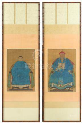 A pair of late 19th / early 20th century Chinese ancestor scroll paintings on silk, the paintings