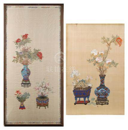 Two early 20th century Chinese Republic period paintings on silk depicting flowers in cloisonne