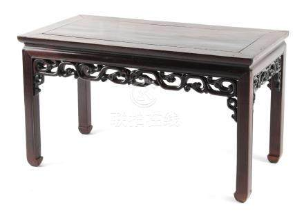 A late 19th century Chinese hongmu rectangular topped kang table, with carved & pierced frieze, 36.