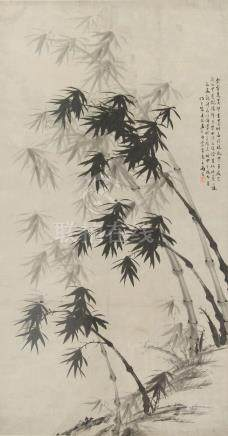A large Chinese monochrome painting on paper depicting bamboo, early 20th century, with