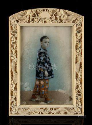A good mid 19th century Chinese Canton carved ivory easel framed portrait miniature on ivory