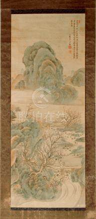 A Chinese scroll painting on silk, late 19th century, depicting two figures in a mountainous