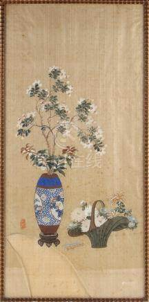 A Chinese painting on silk depicting a vase & a basket of flowers, early 20th century Republic