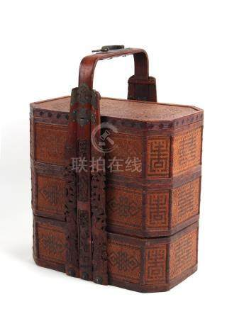 A large Chinese carved bamboo & cane three-tier marriage food box, late 19th / early 20th century,