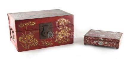Property of a gentleman - a Chinese gilt painted red leather box, late 19th / early 20th century,