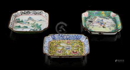 Property of a lady - three Chinese Canton enamel dishes, 18th / 19th century, with re-entrant