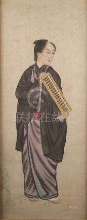 Property of a lady - an early 20th century Chinese painting on paper depicting a standing figure