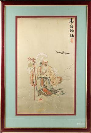 A Chinese embroidered silk panel depicting Shoulao with bat among clouds, Republic period, with