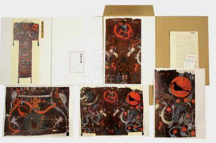 A Chinese folio of twelve reproductions of Han Dynasty paintings, circa 1970, with text & typed