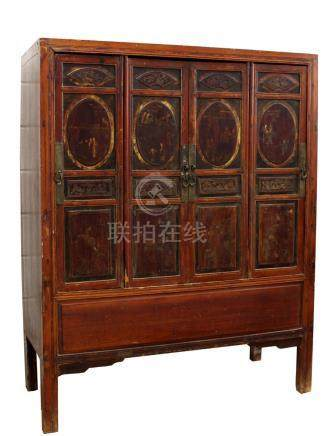 Property of a gentleman - a 19th century Chinese carved & painted four-door side cabinet, 56ins. (