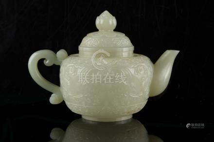 Property of a gentleman - a fine Chinese carved white jade teapot & cover, probably late 19th /
