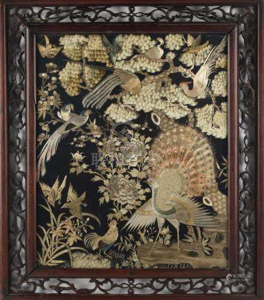 A 19th century Chinese embroidered silk 'Hundred Birds' panel, with black ground, 16.4 by 13.