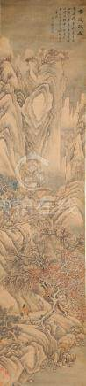 A good 19th century Chinese scroll painting on silk depicting a mountainous landscape with a