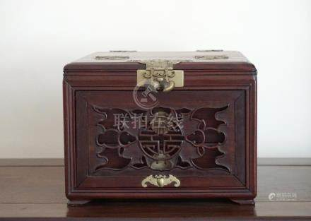 A Chinese Huali Wood Mirror Box