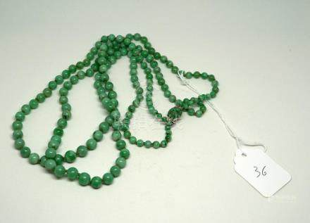 A Chinese Jadeite Double Strand Necklace