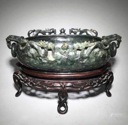 19C.,A Green Jade Washer