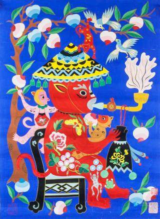 YAN YUZHEN Chinese b.1915 Watercolor Folk Art