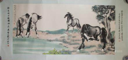 XU BEIHONG Chinese 1895-1953 Watercolor Paper Roll