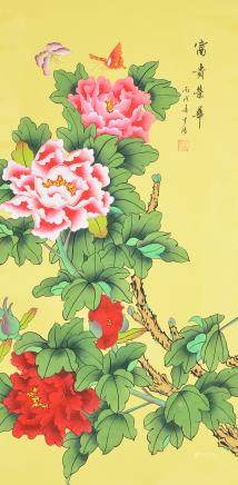 MENG TANG Chinese Watercolor Scroll Peonies