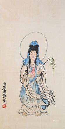 QI BAISHI Chinese 1864-1957 Watercolor Guanyin