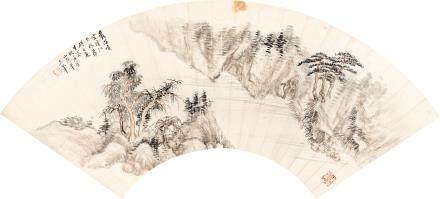 王翬  山水   設色紙本 扇面