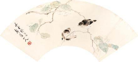 新羅山人  花鳥   設色紙本 扇面