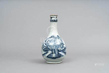 清 青花山水人物瓶