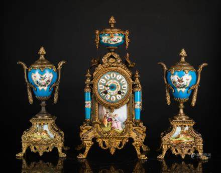 19th Antique Clock And Garniture
