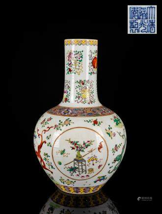 19th Taokuang Mark Famille Rose Vase