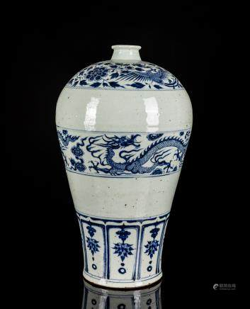 Yuan Style Large Antique Blue&White Vase(Meiping)