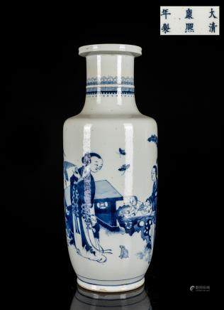 Kangxi Period Antique Blue And White Rouleau Vase
