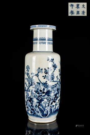 18th Antique Blue And White Rouleau Vase