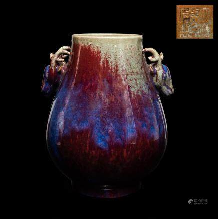 19th Kuangxu Period Antique Flambe-glazed Vase
