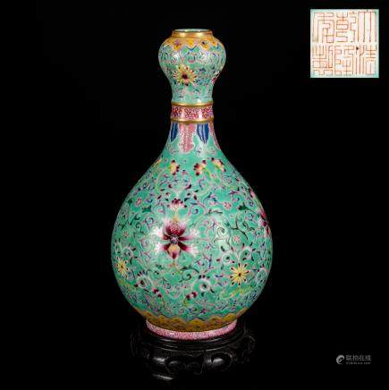 Qianlong Mark But Kuangxu Period Antique Enamel Garlic Vase