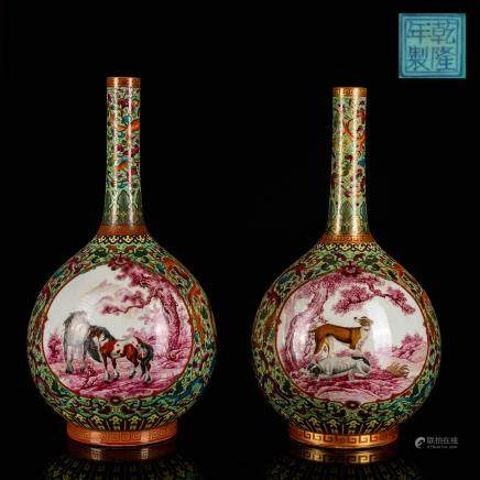 Pair of Republic Period Antique Enamel Bottle Vase