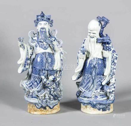 Zwei große chinesische Figuren, Mitte 20. Jh., einmal bärtiger Weiser (H. 78 cm), einmal Kaiser? mit
