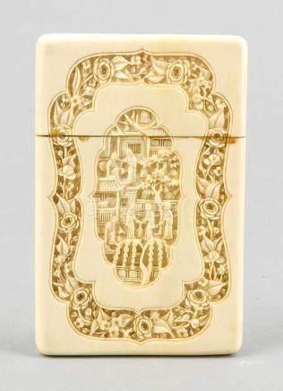 Visitenkartenetui, China, späte Qing-Dynastie, Elfenbein, flaches Deckeletui mit